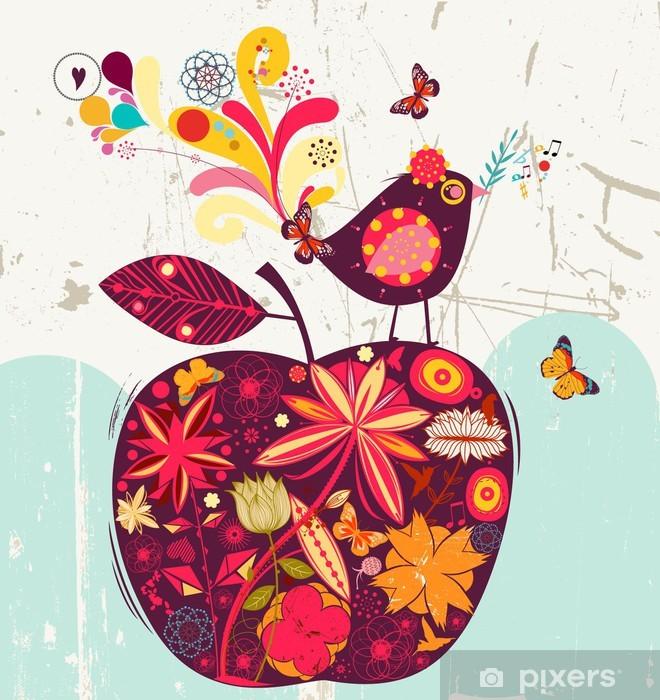 cute apple and bird Pixerstick Sticker - Themes