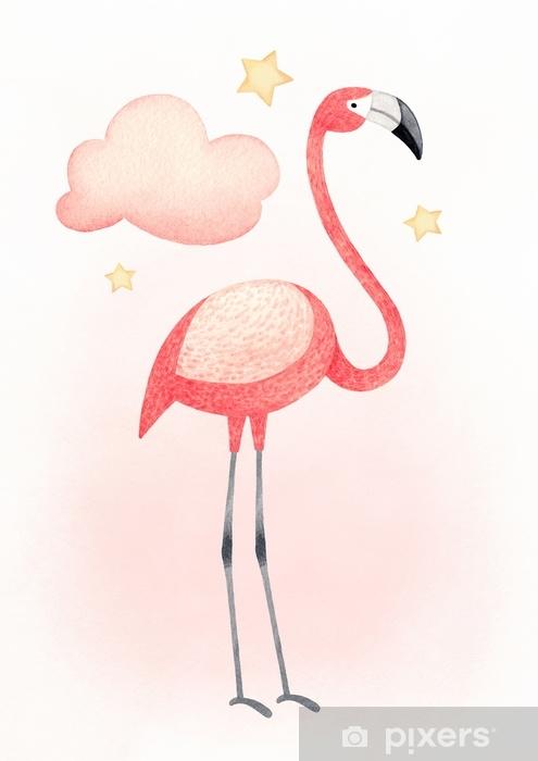Sticker Pixerstick Illustration aquarelle d'un flamant rose. parfait pour les cartes de voeux - Animaux