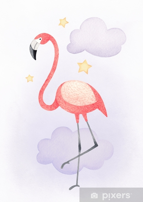 Watercolor illustration of a flamingo. Perfect for greeting card Self-Adhesive Wall Mural - Animals