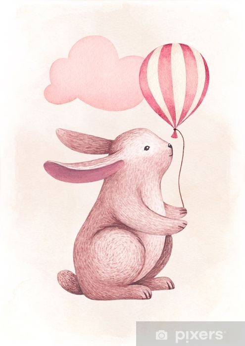 A watercolor illustration of the cute bunny. Perfect for greeting cards Self-Adhesive Wall Mural - Graphic Resources