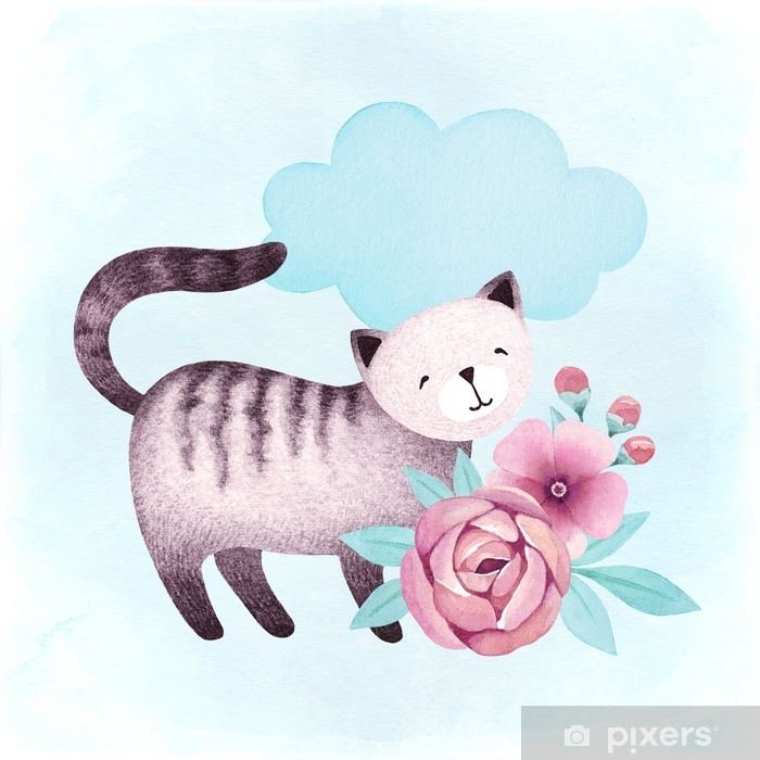 Watercolor illustration of a cat and flowers Self-Adhesive Wall Mural - Animals