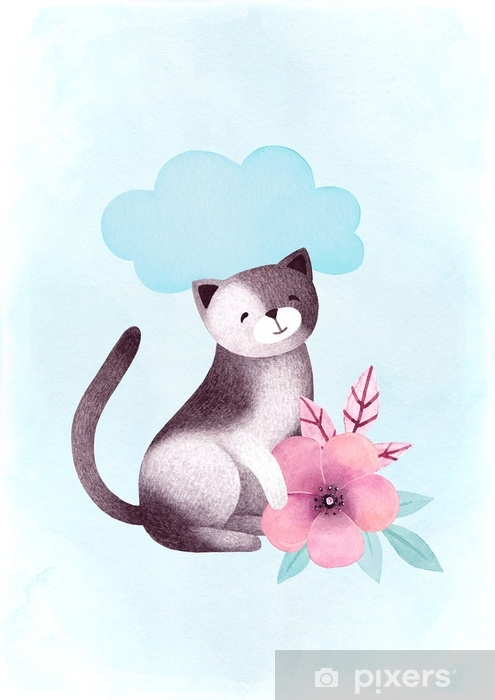 Watercolor illustration of a cat and flowers Self-Adhesive Wall Mural - Graphic Resources