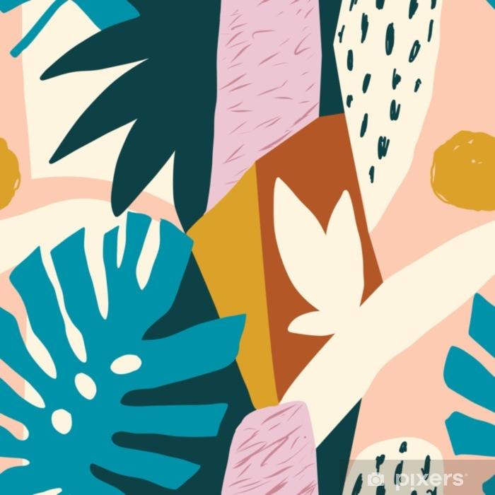 Naklejka Pixerstick Nowoczesne egzotyczne owoce dżungli i rośliny ilustracja w wektorze. - Rośliny i kwiaty