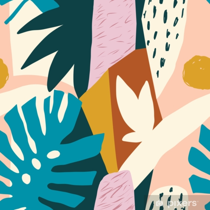Modern exotic jungle fruits and plants illustration in vector. Pixerstick Sticker - Plants and Flowers