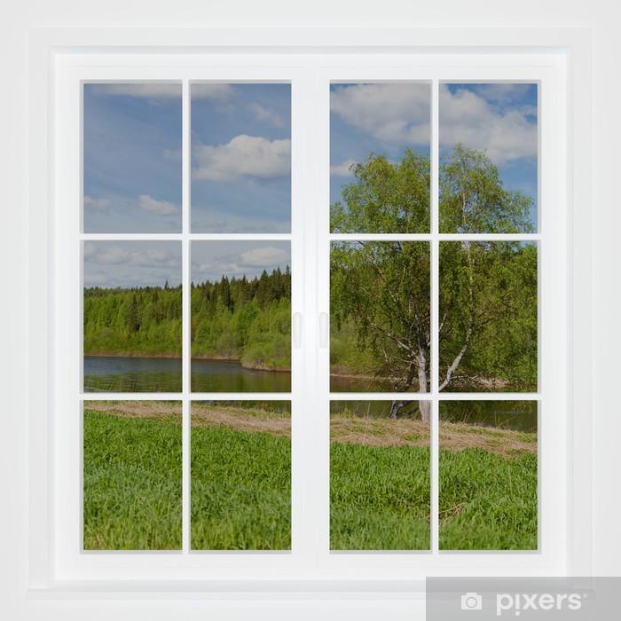 Fototapeta winylowa Letni krajobraz za oknem. Obraz 3D - Tematy