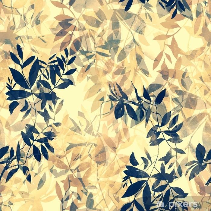Papier peint vinyle Empreintes de brindilles abstraites de style japonais avec des feuilles mélanger répétition modèle sans couture. photo numérique dessiné à la main avec - Plantes et fleurs