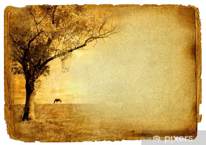 Vintage Paper Background With Autumn Tree Wall Mural
