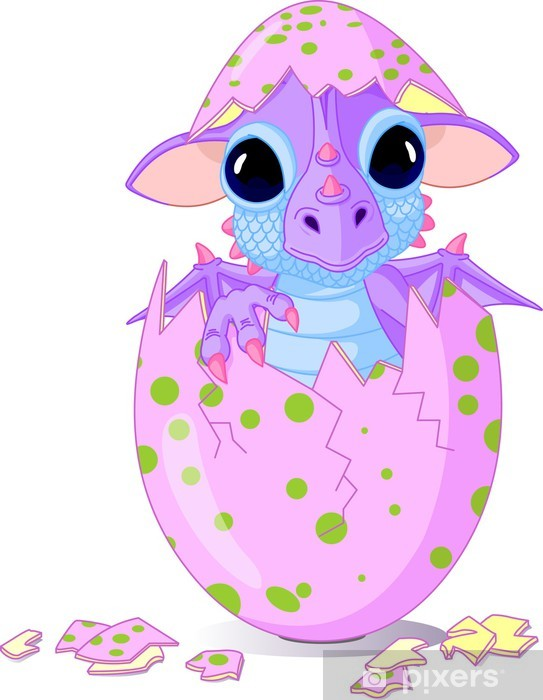 Baby dragon hatched from one egg Pixerstick Sticker - Wall decals