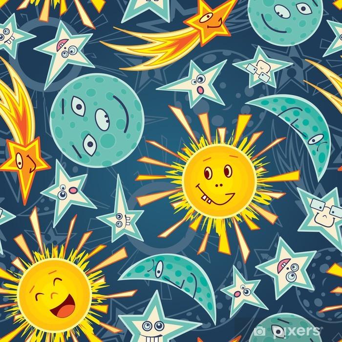 Papier peint vinyle Lune étoiles et du soleil - Bonheur