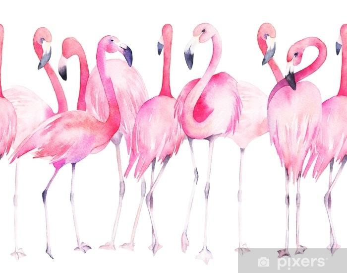 Egzotik Flamingo Ile Sulu Boya Dikissiz Desen Yaz Dekorasyon