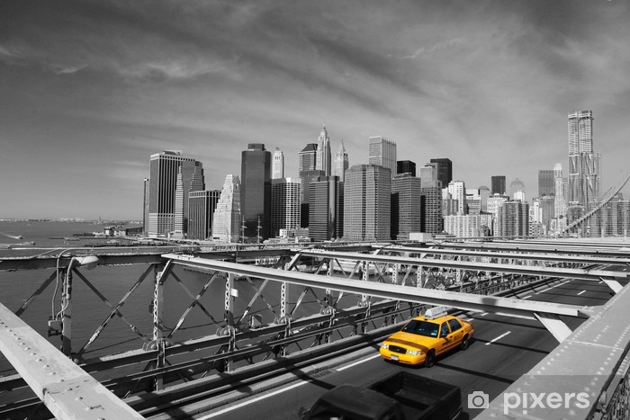 Brooklyn Bridge Taxi, New York Pixerstick Sticker -