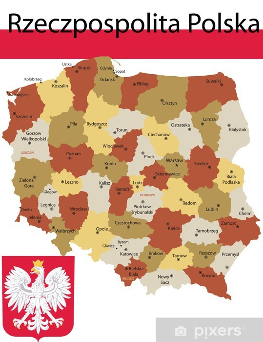 Poland map flag and coat of arm. Wall Mural • Pixers® • We live to ...
