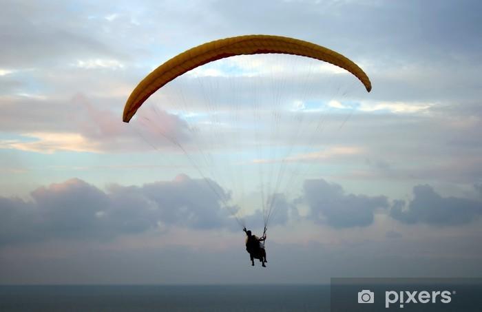 Flight of paraplane above Mediterranean sea on sunset Pixerstick Sticker - Extreme Sports