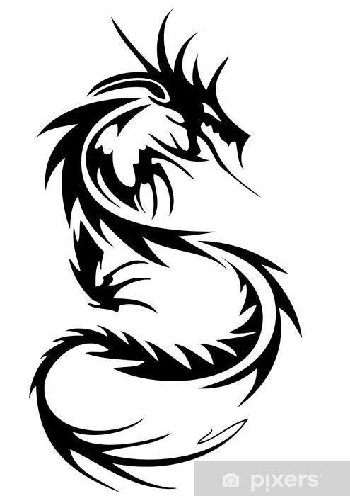 924892e5f6854 tribal dragon tattoo Wall Mural • Pixers® • We live to change