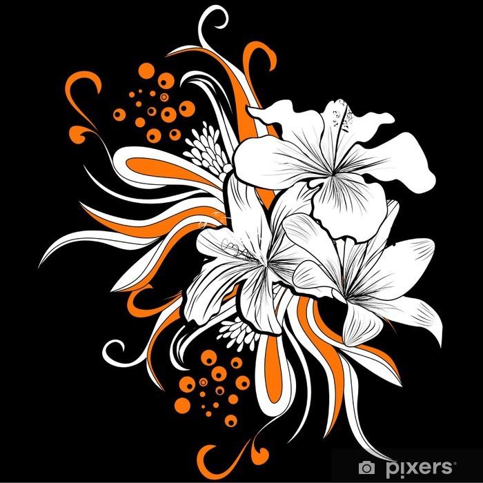 Vinyl Fotobehang Decoratieve achtergrond met witte bloemen - Achtergrond
