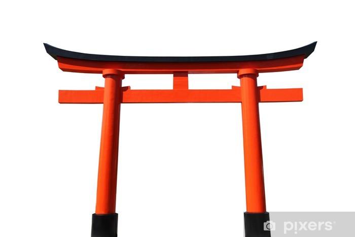 Naklejka Pixerstick Pomarańczowy i czarny japoński Tori Brama na białym. - Azja