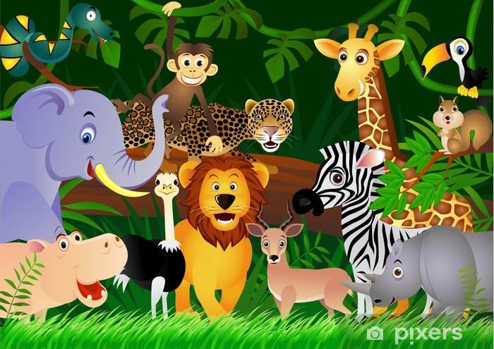 Pixerstick Sticker Wild dier cartoon - Studentenkamer
