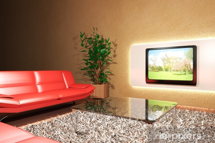 Papier peint vinyle Soggiorno con divano rosso e televisione - Maisons et jardins