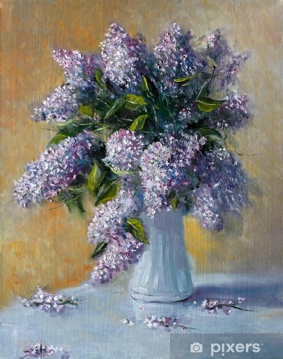 Eflatun çiçek Buketi Boyama Yağlı Boya Ile Boyama Duvar Resmi