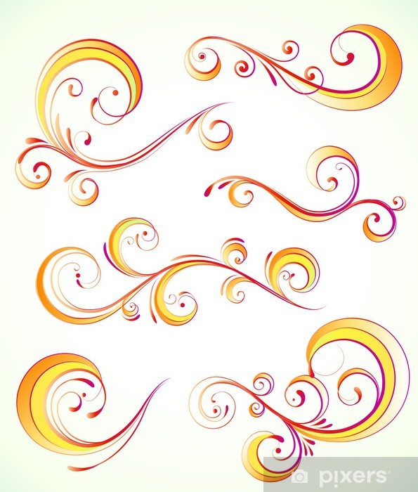 Papier peint vinyle Éléments décoratifs floraux - Plantes