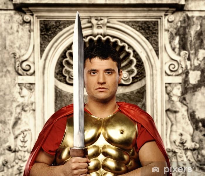 Vinilo Pixerstick Soldado legionario romano en frente del muro abstracto - Hombres
