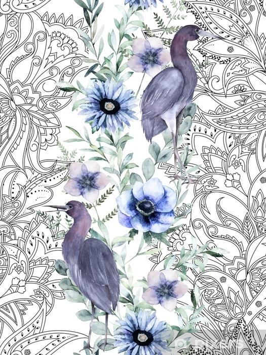 Fototapet av vinyl Akvarell sømløs grense. botanisk blomstermønster med blå heron og paisley. håndtegnet illustrasjon. antistress - Grafiske Ressurser