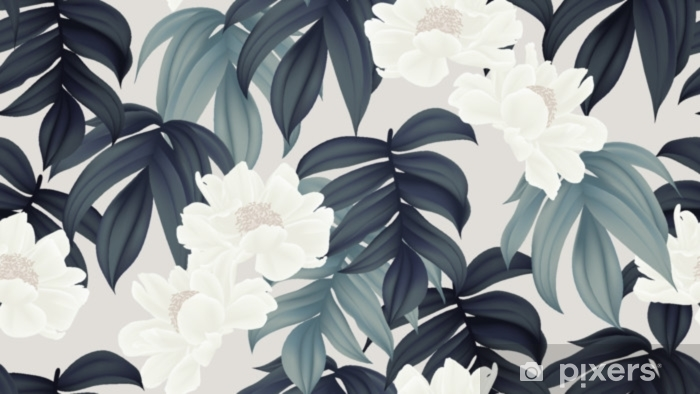 Fotomural Estándar Patrón botánico transparente, flores blancas de paenia lactiflora y hojas sobre fondo marrón claro - Plantas y flores