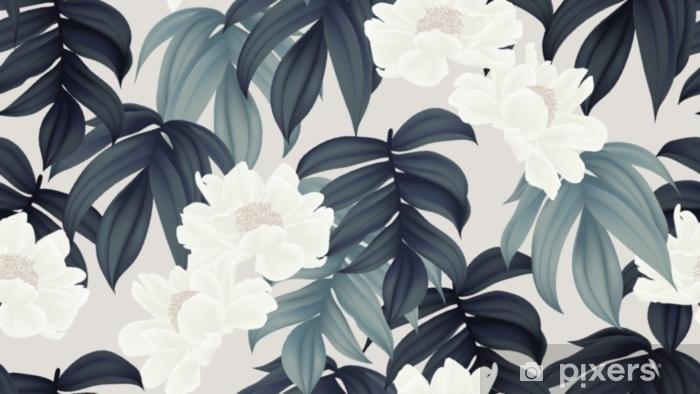 Fototapeta winylowa Botaniczny wzór, białe kwiaty paenia lactiflora i liście na jasnobrązowym tle - Rośliny i kwiaty