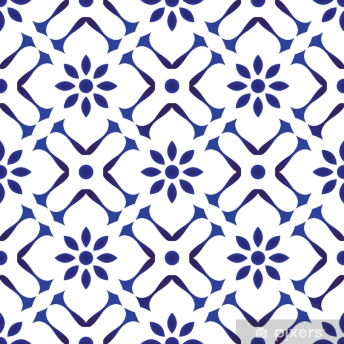 tile pattern design Self-Adhesive Wall Mural - Graphic Resources