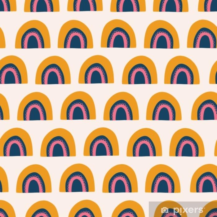 Fotomural Autoadhesivo Resumen de patrones sin fisuras vector de arco iris. Dibujado a mano lindo arco iris naranja, rosa y azul sobre fondo blanco. estilo escandinavo. Ideal para el mercado de los niños: tela, papel, papel tapiz, papel de regalo, niña - Recursos gráficos