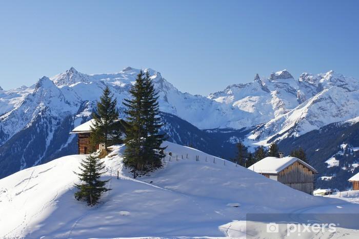 Pixerstick Aufkleber Winter in den Bergen - Urlaub