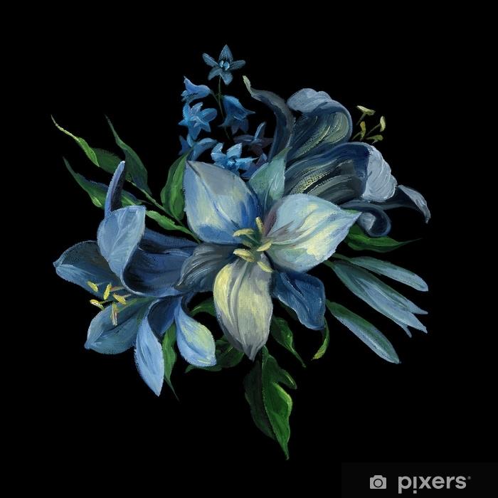 Adesivo Per Frigorifero Bouquet Di Blu Diversi Fiori E Foglie Su