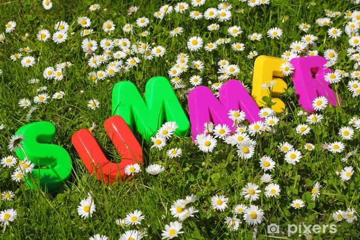 Sticker Pixerstick Summerschriftzug dans Blumenwiese - Vacances