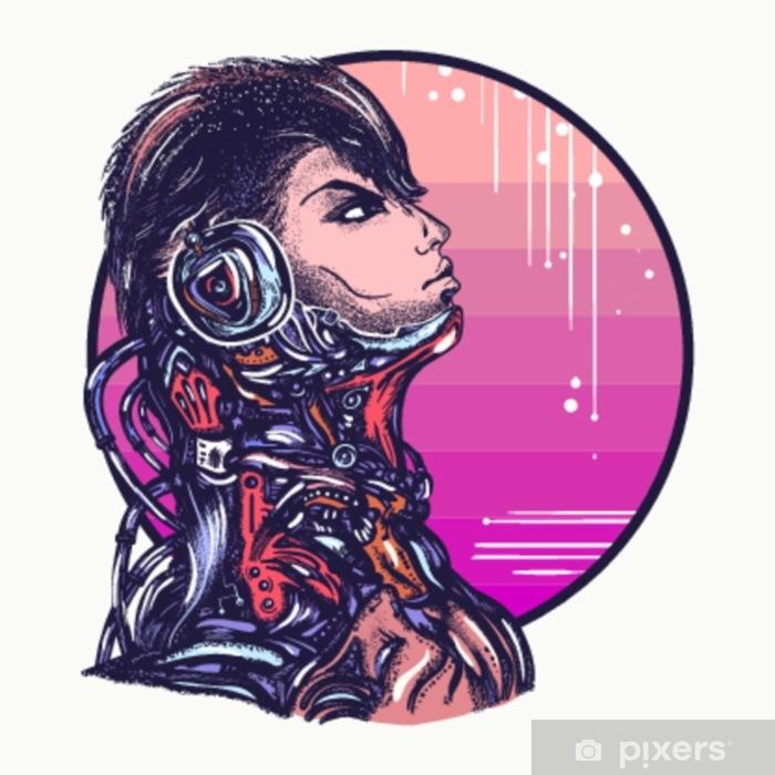 Naklejka Pixerstick Człowiek robot w słuchawkach słuchania muzyki projekt koszulki. sztuka cyberpunk. portret żołnierza biomechanicznego, ludzi przyszłości - Ludzie