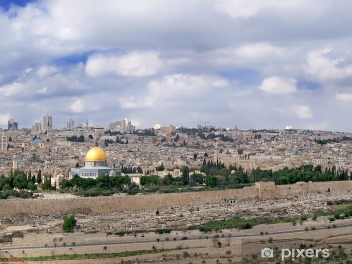 Pixerstick Dekor Panorama av heliga staden med särskiljande cuppola av moskén. - Mellanöstern