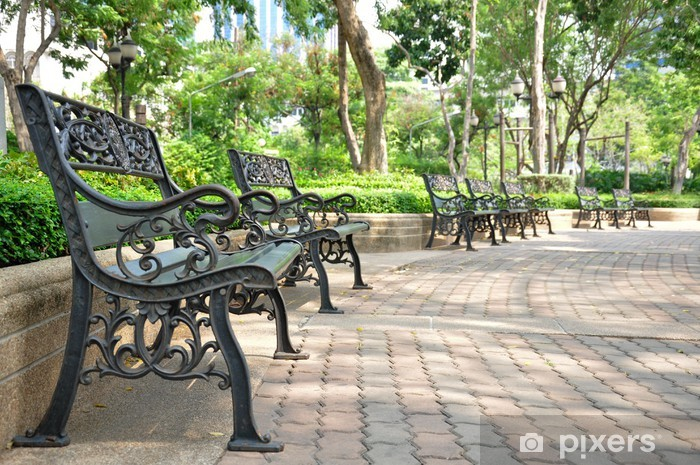Vinyl-Fototapete Eisen-Bank im Park, in Bangkok Thailand - Urlaub