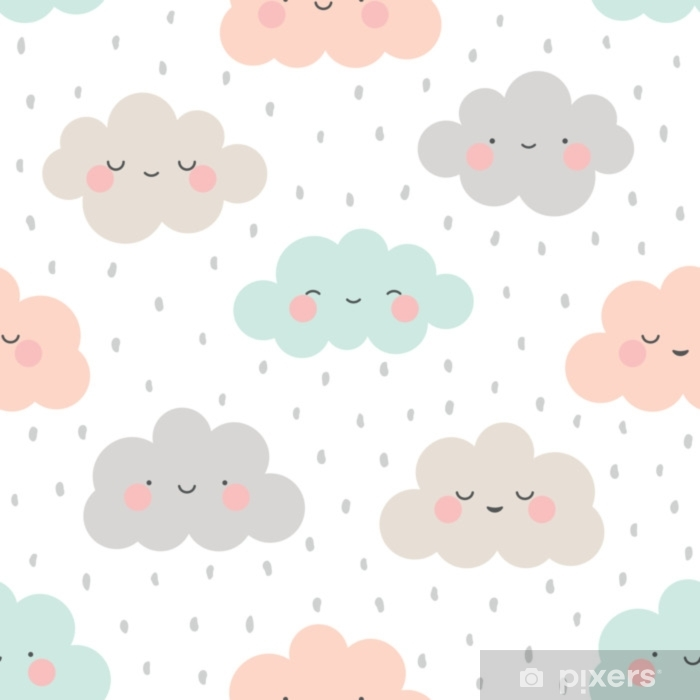 Cute Cartoon Face Cloud Seamless Pattern Background with Dot, Vector illustration Self-Adhesive Wall Mural - Landscapes