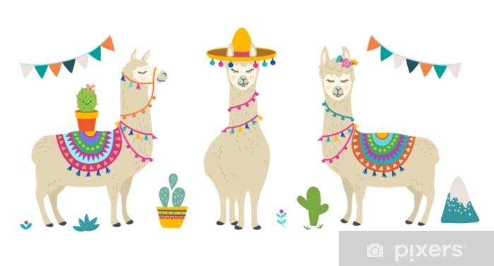 Fototapete Niedlichen Cartoon Lama Alpaka Vektor Grafik Design Set Handgezeichnete Lama Charakter Illustration Und Kaktus Elemente Fur Kinderzimmer