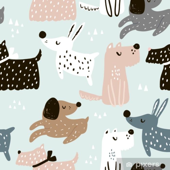 22afce552 Fototapet av vinyl Barnslig sømløs mønster med hånddrevne hunder. trendy  skandinavisk vektor bakgrunn. perfekt for barneklær, stoff, tekstil, ...