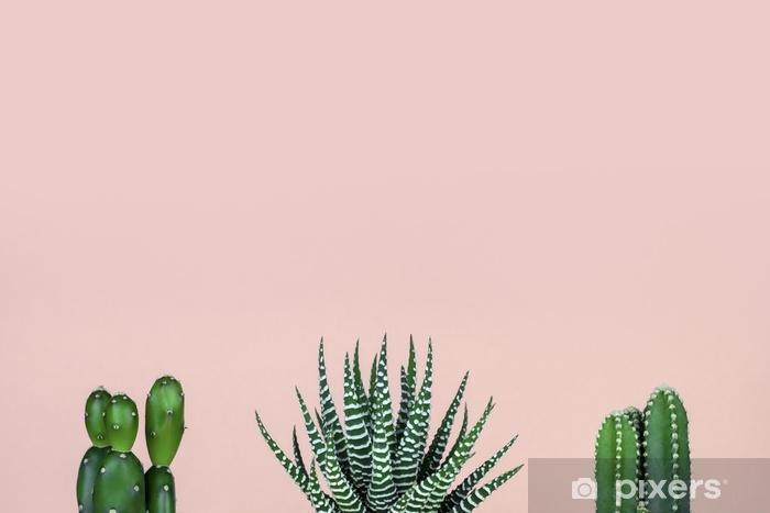 Kaktus ryhmä patel pinkki tausta Pixerstick tarra - Kasvit Ja Kukat