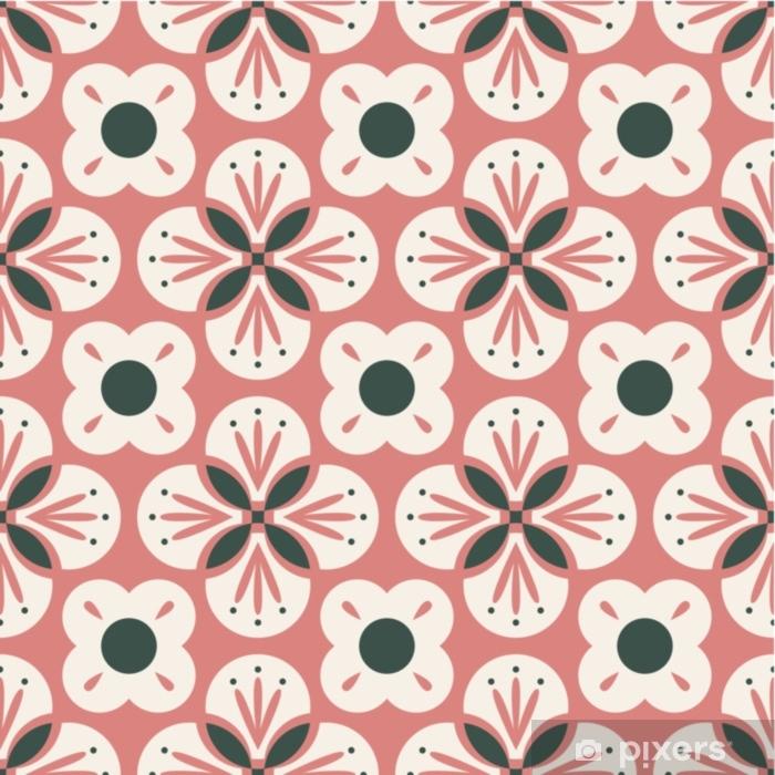 Pixerstick Sticker Naadloos retro patroon met abstracte bloemenelementen - Grafische Bronnen