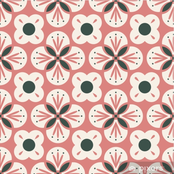seamless retro pattern with abstract floral elements Pixerstick Sticker - Graphic Resources