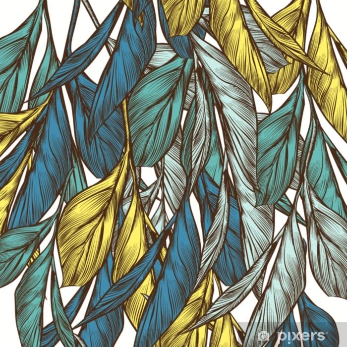 Pixerstick Sticker Floral vector patroon in vintage stijl met de hand getekende bladeren - Grafische Bronnen