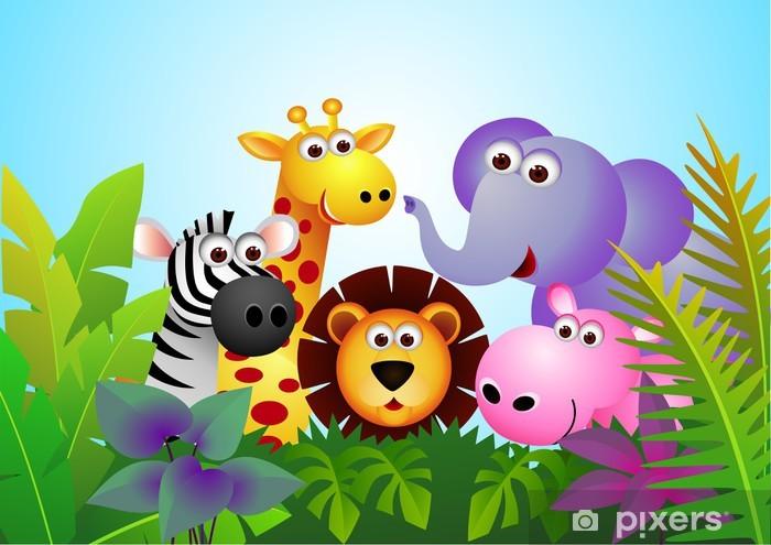 Papier peint vinyle Animal cartoon mignon dans la jungle - Pour élève