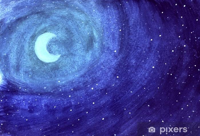 Carta Da Parati Luna Tra Le Stelle Di Notte In Blu Acquerello Sfondo