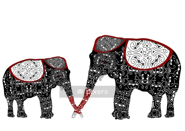 ethnic elephants Wall Decal - Wall decals