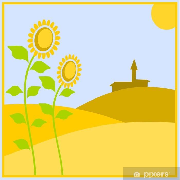 Vinilo Pixerstick Paesaggio de campo con girasoli - Agricultura