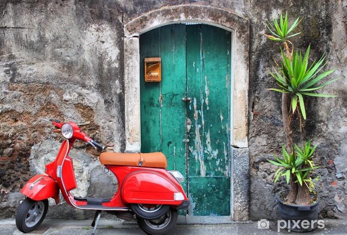 Punainen skootteri Pixerstick tarra - iStaging