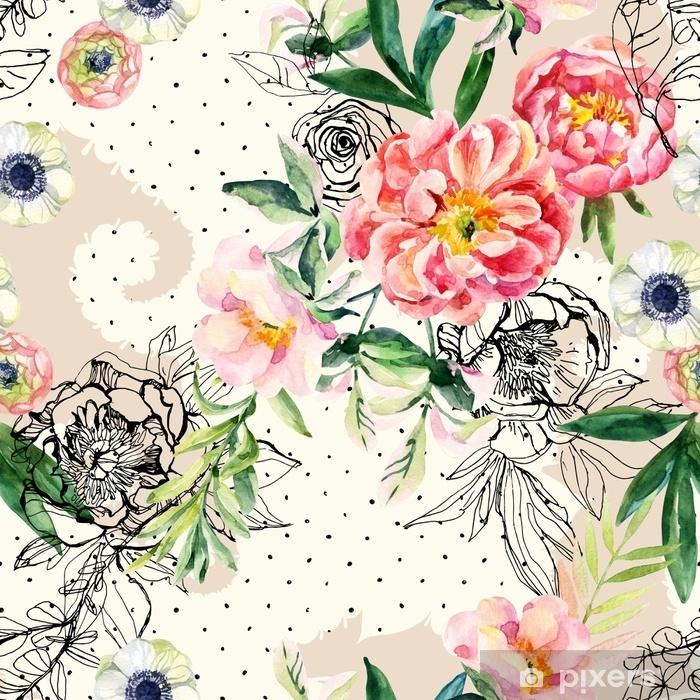 Mural de Parede em Vinil Aquarela e tinta doodle flores, folhas, ervas daninhas em paisley silhueta sem costura padrão. - Plantas e Flores