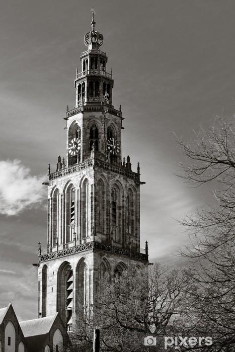 Vinyl Fotobehang Cityscape van Groningen met de Martinitoren - Thema's